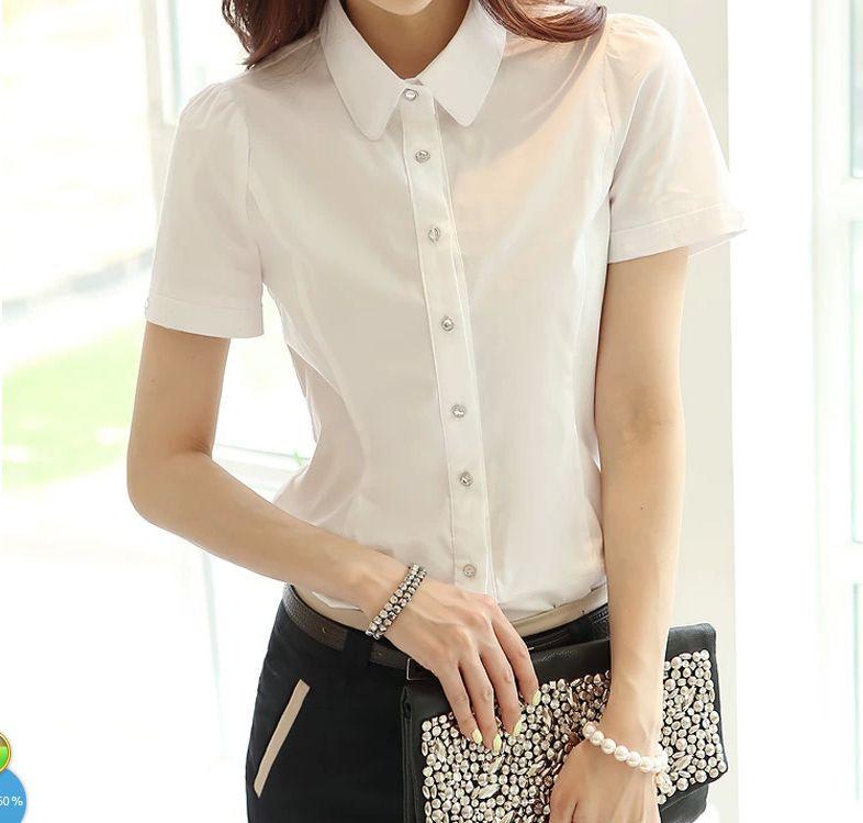 Gkfnmt Blusa Feminina mode femme blanc blouses de bureau en mousseline de soie col rabatdécontracté dames hauts blouse d'école femmes