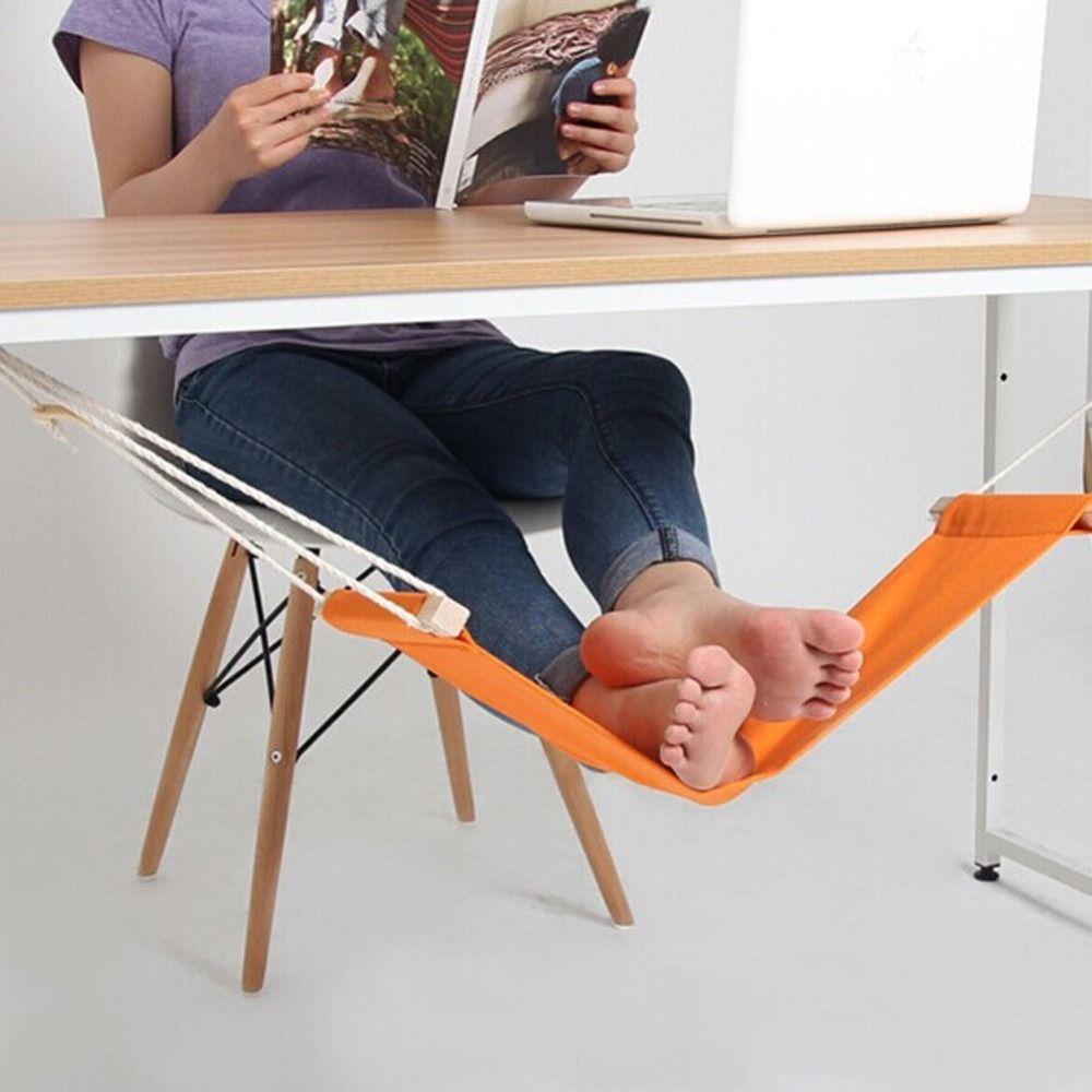 60*16 cm Hamac Stand Bureau Pied Reste Stand Bureau Pieds Hamac Facile à Démonter Étude Intérieur Orange