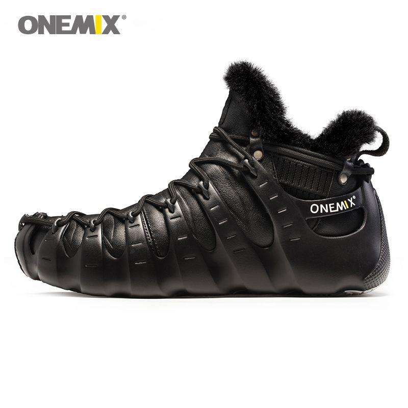 Onemix winter boots for men walking shoes for women outdoor trekking shoe no glue sneakers autumn winter warm keeping shoes