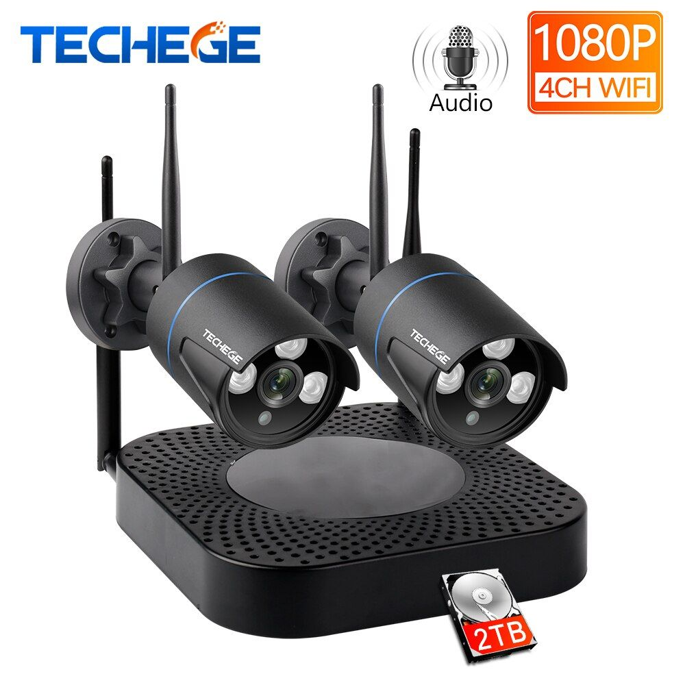 Techege H.265 4CH CCTV System 2 stücke 960 P/1080 P HD Audio Wireless NVR Kit Im Freien Wasserdichte Sicherheit IP Kamera WIFI CCTV System