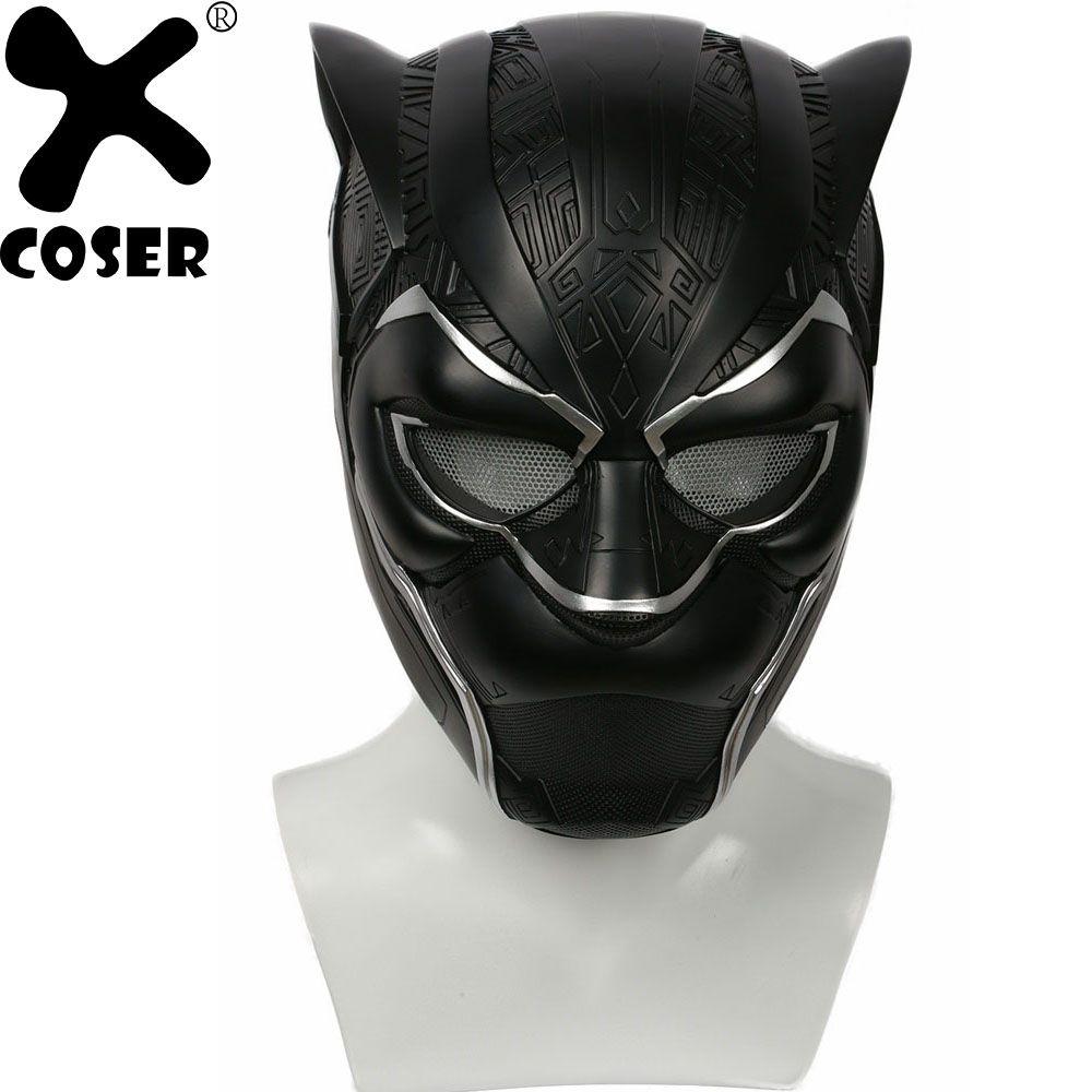 XCOSER 2018 Hot Movie Black Panther Helmet Resin Full Mask Men Superhero Movie Cosplay Helmet Props Accessories Halloween Party
