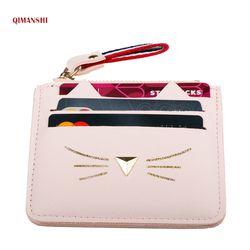 Qimanshi mujeres Monederos cartera titulares de tarjetas de crédito mini para la hembra encantadora del oído de gato Tarjeta de Efectivo monedero