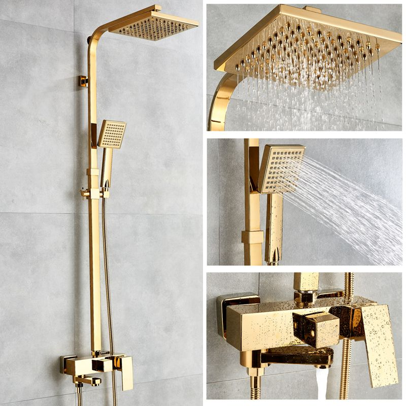 Bathtub Faucets Luxury Gold Brass Bathroom Faucet Mixer Tap Wall Mounted Hand Held Shower Head Kit Shower Faucet Sets