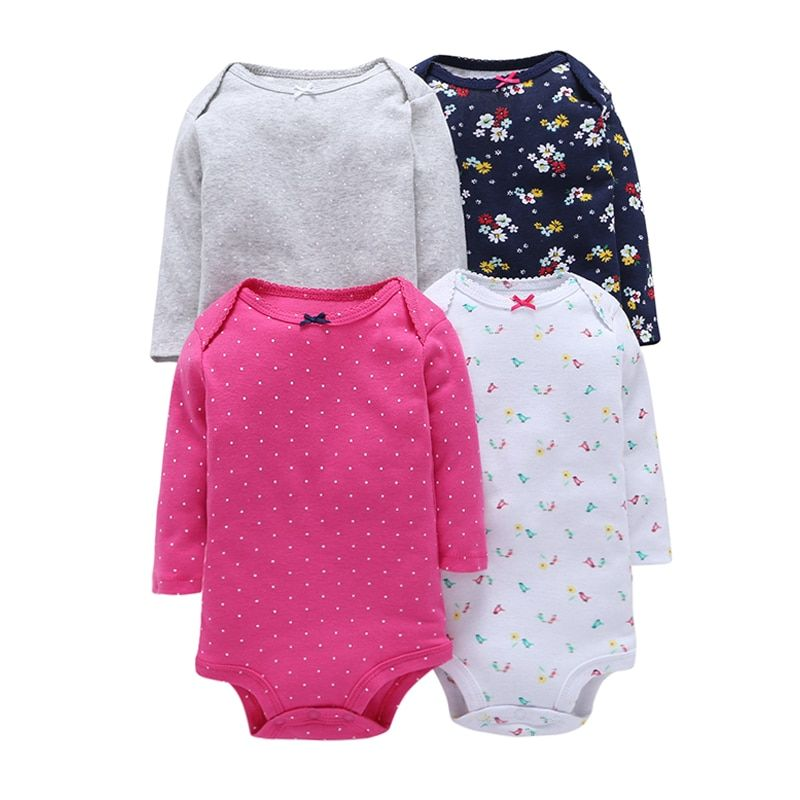 4Pcs/Lot Summer Baby Girl Bodysuits Set Rose Red Dot Long Sleeves Black Flowers Cotton Baby Bodysuits Baby Girl Clothes Sets V20