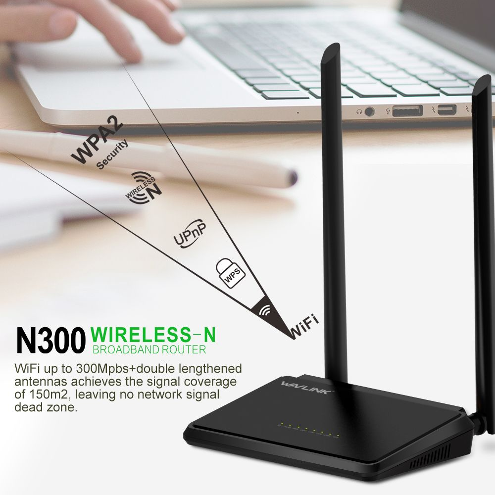 Wavlink N300 300Mbps Mini Home Wireless WiFi Router 5dBi 2.4G External Antennas WPS Button Broadband ROUTER 5WAN/LAN Ports QoS