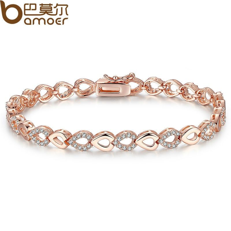 BAMOER Exquisite  Rose Gold Color Heart Chain Link Bracelet for Women Shining AAA Cubic Zircon Crystal Jewelry JIB019