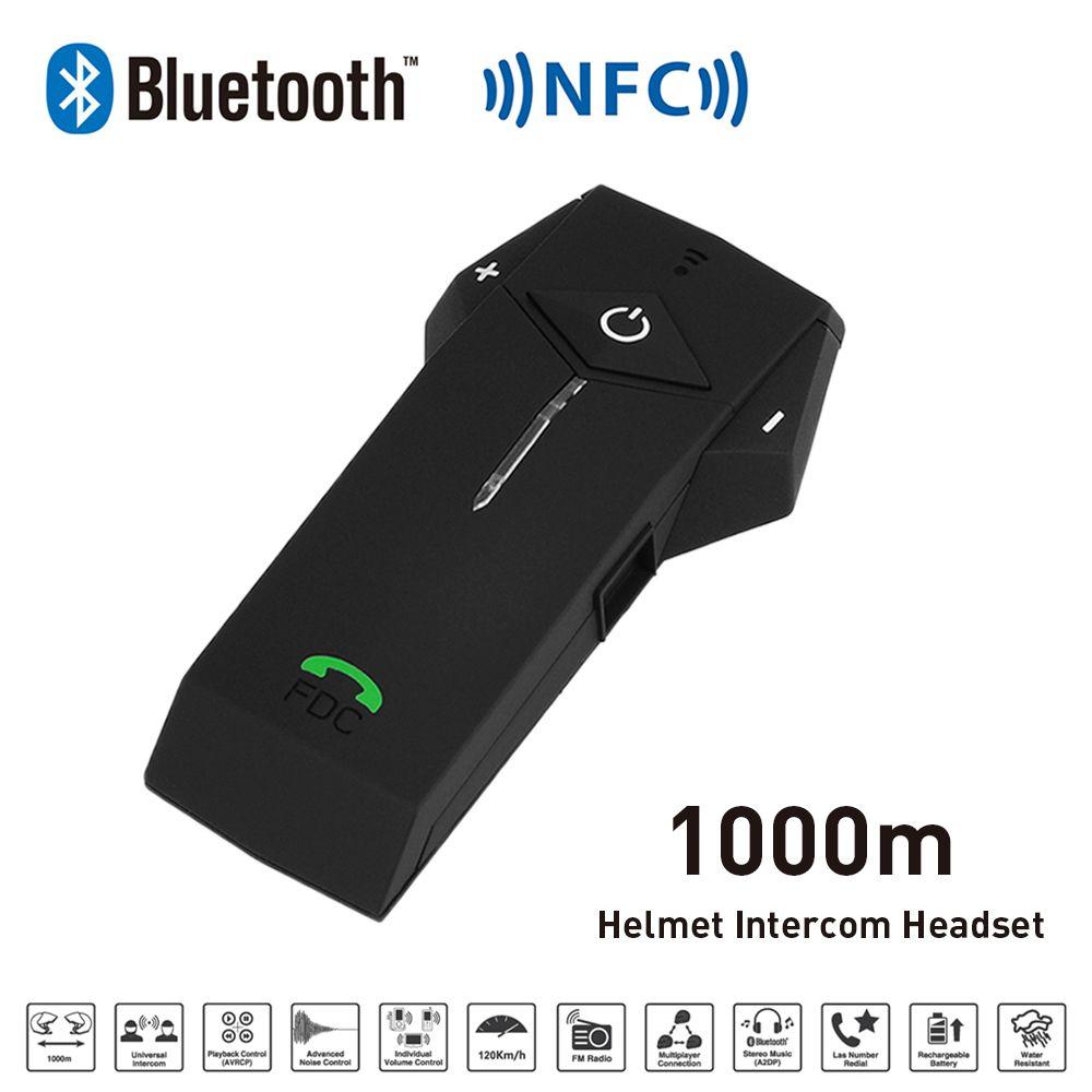 Freedconn 1000 м BT NFC fm Радио Функция мотоциклетный шлем домофон Беспроводной гарнитура переговорные наушники для телефона/GPS/ mp3