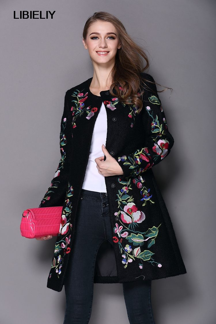 NiceAutumn Winter Long Coat Vintage Embroidery Cashmere <font><b>Trench</b></font> Slim Black/White Woolen Coat Overcoat
