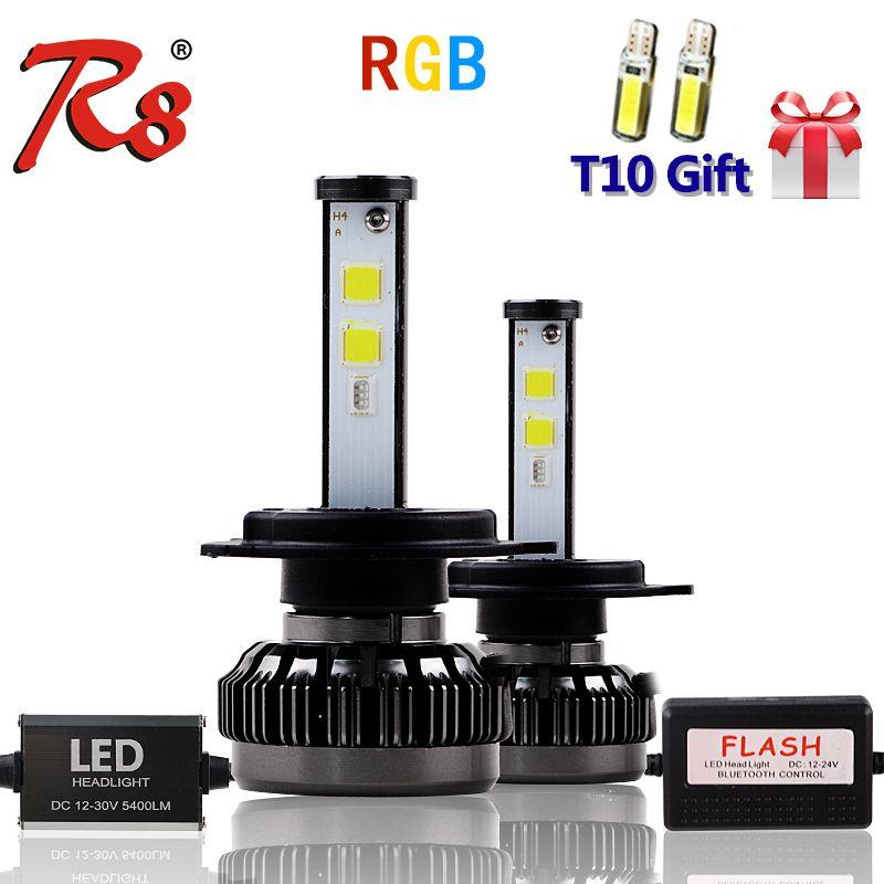 New Popular Car Multicolors RGB Auto LED Headlight Kits H1 H7 H4 H8 HB3 HB4 881 H16 APP Bluetooth Remote Control DIY Foglight