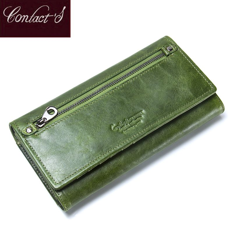 Contact's Genuine Leather Women Wallets Female Long Clutch Photo Holder Wallet Large Capacity Purses With Money Phone Bags