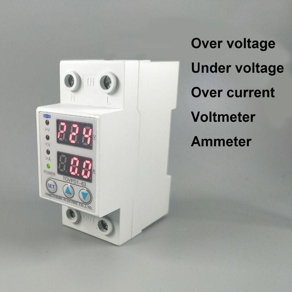 60A 230V Din rail réglable sur et sous tension dispositif de protection relais de protection avec surintensité voltmètre de protection