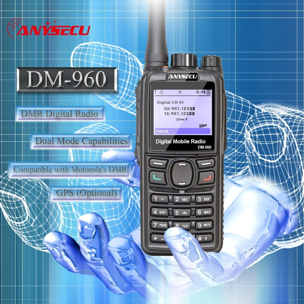Double Mode TDMA numérique/Analogique DMR Radio Anysecu DM-960 UHF 3000 mAh Compatible avec MOTOTRBO mieux que TYT MD380/MD390/MD398