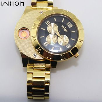 1PCS 2018 new HOT Lighter Watches Men casual Fashion Quartz Watch Gold stainless steel strap USB charging Cigarette Lighter F780