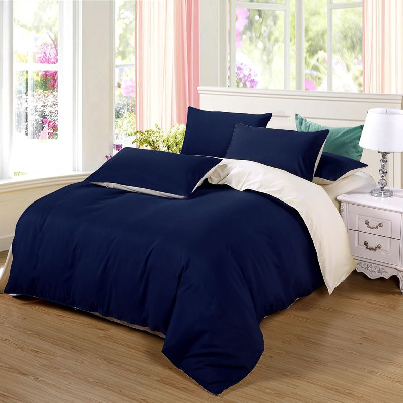 AB side bedding set super king duvet cover set dark blue +beige 3/ <font><b>4pcs</b></font> bedclothes adult bed set man duvet flat sheet 230*250cm