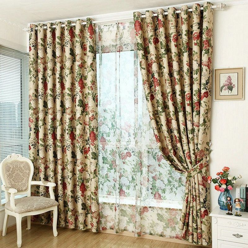 Modern Style Luxury Window Blackout Floral Curtain For Kitchen/ Living Room Blackout Curtain Floral Rustic Furnishing Customized