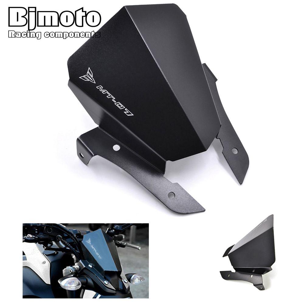 BJMOTO New MT-07 MT 07 Motorcycle Aluminum Motorbike Windshield Windscreen For Yamaha MT07  2013 2014 2015 2016 2017 Black
