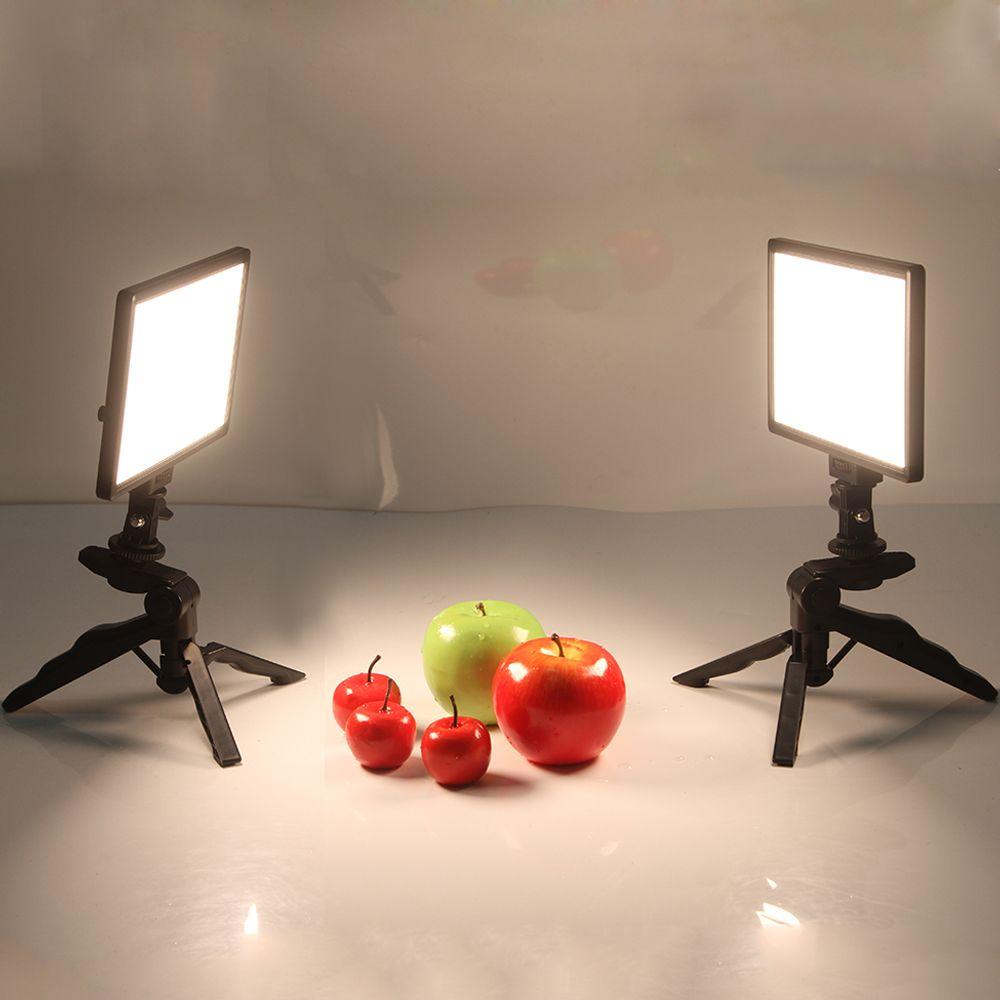 2x Viltrox L116T Video Studio LED Camera Light LCD Display Bi-Color Dimmable + 2x Folding Handheld Tripod Stand for DSLR Photo