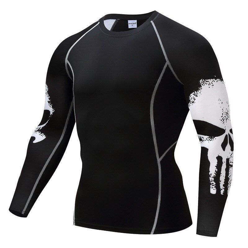 Punisher Compression Chemise Hommes de Respirant séchage Rapide T-shirt Bodybuilding Top Crossfit T Fitness haltérophilie Couche de Base
