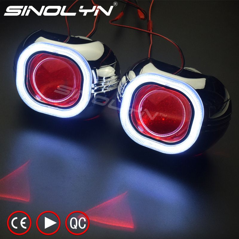 SINOLYN Metal H4 Q5 Square COB LED Angel Eyes Halo HID Bi xenon Projector Lens Headlight Devil Demon Eye Car Styling Automobiles