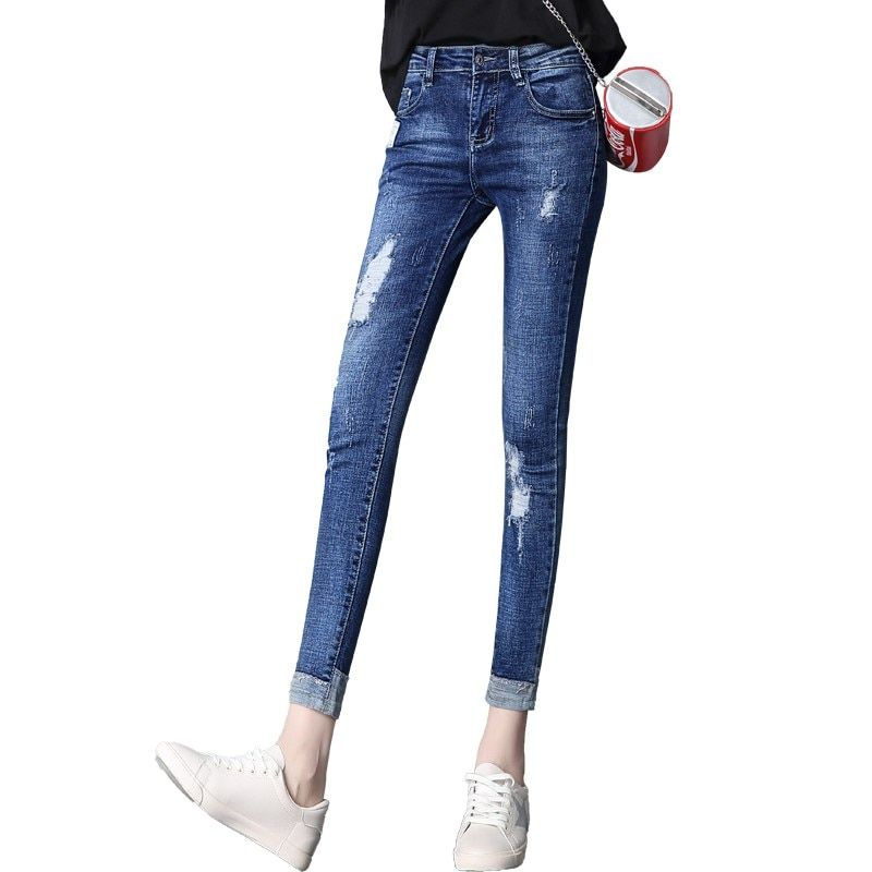 2018 Summer hot Woman tight calf pants Comfortable skinny jeans for Women Hole pencil pants elastic pants