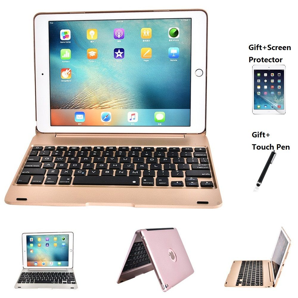 Folding Laptop Design Wireless Bluetooth Keyboard Foldable Stand Case For <font><b>iPad</b></font> Pro 9.7 Inch <font><b>iPad</b></font> Air 1 2 New <font><b>iPad</b></font> 2017 2018 9.7