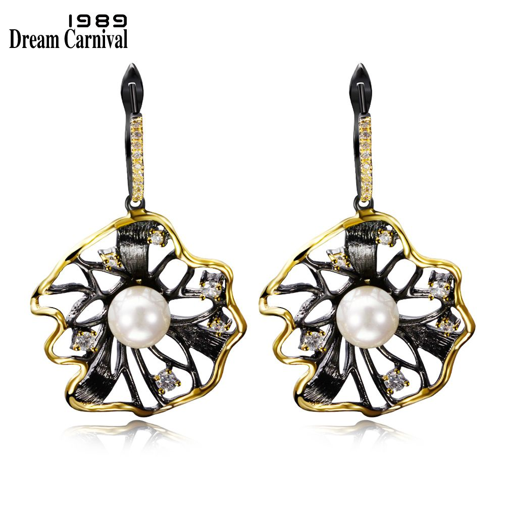 DC1989 Trendy Flower Shape Vintage Earrings For Women Big Dangling Earring Contrast Black Gold Plated Synthetic Cubic Zirconia