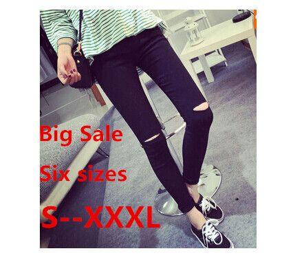 RenYvtil grande taille 2020 haute élastique coton femmes noir taille haute déchiré jean déchiré genou maigre crayon pantalon mince Capris 3XL