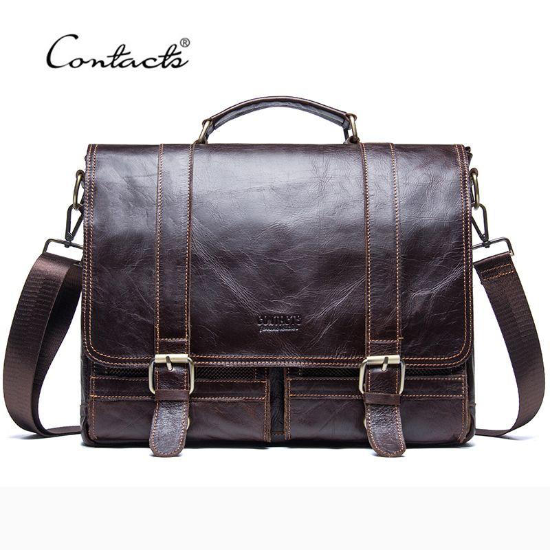 CONTACT'S 2018 Men Retro Briefcase Business Shoulder Bag Leather Handbag Bag Computer Laptop Messenger Bags Men's Travel Bags