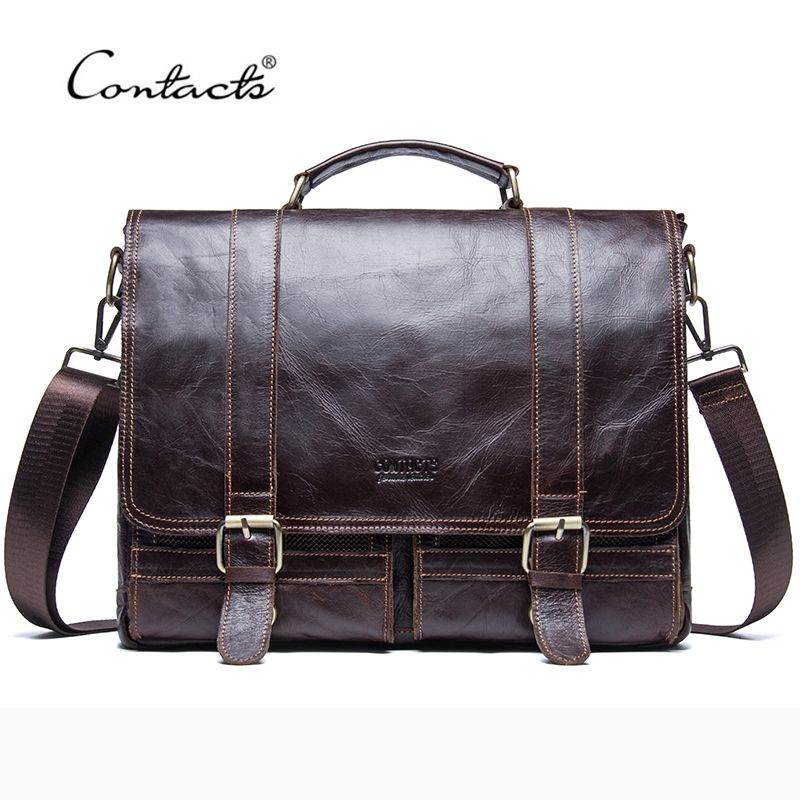 CONTACT'S 2018 Men Retro Briefcase Business Shoulder Bag Leather Handbag Bag Computer Laptop Messenger Bags Men's Travel Bags