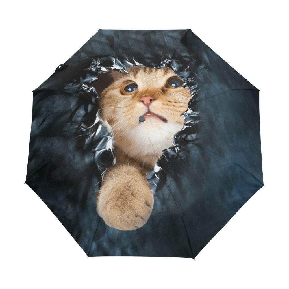 Véritable marque parapluie pliant pluie femmes noir qualité automatique parasols Anti UV mignon chat motif crème solaire plage Parasol