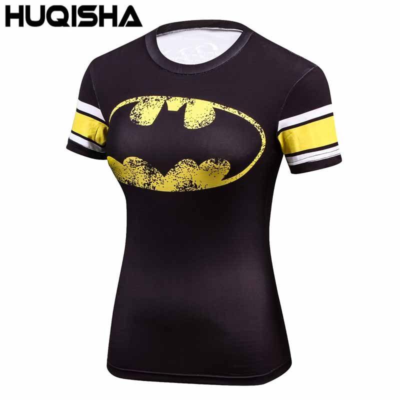 T-shirt femme décontracté super-héros femmes Superman/Captain America Batman chemises musculation hauts de compression