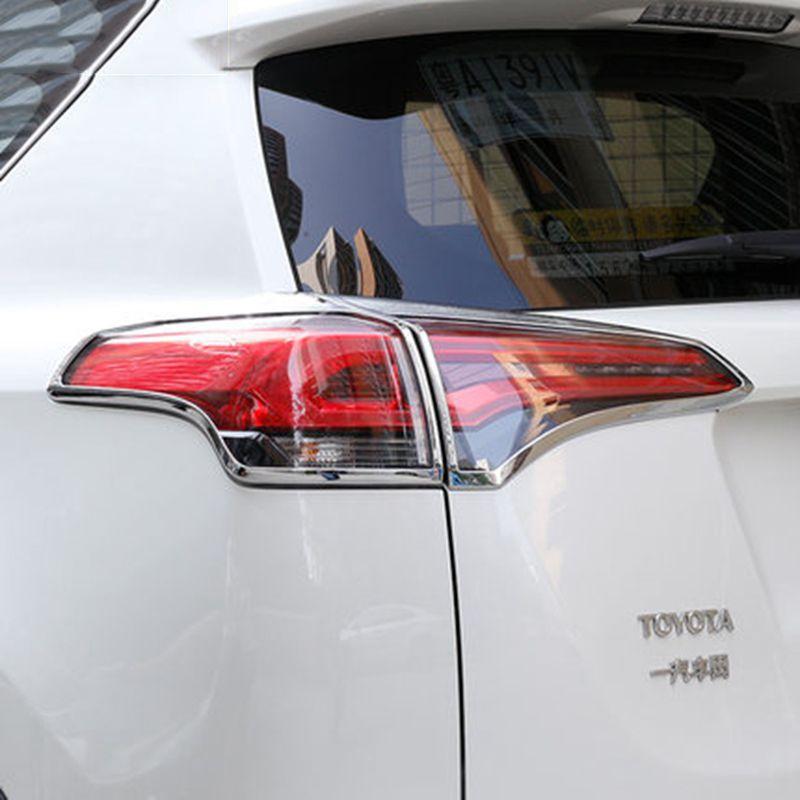 4 pièces/ensemble ABS Chrome arrière feu arrière feu arrière couvercle garniture cadre autocollant adapté pour Toyota RAV4 RAV 4 2016 2017 accessoires de voiture
