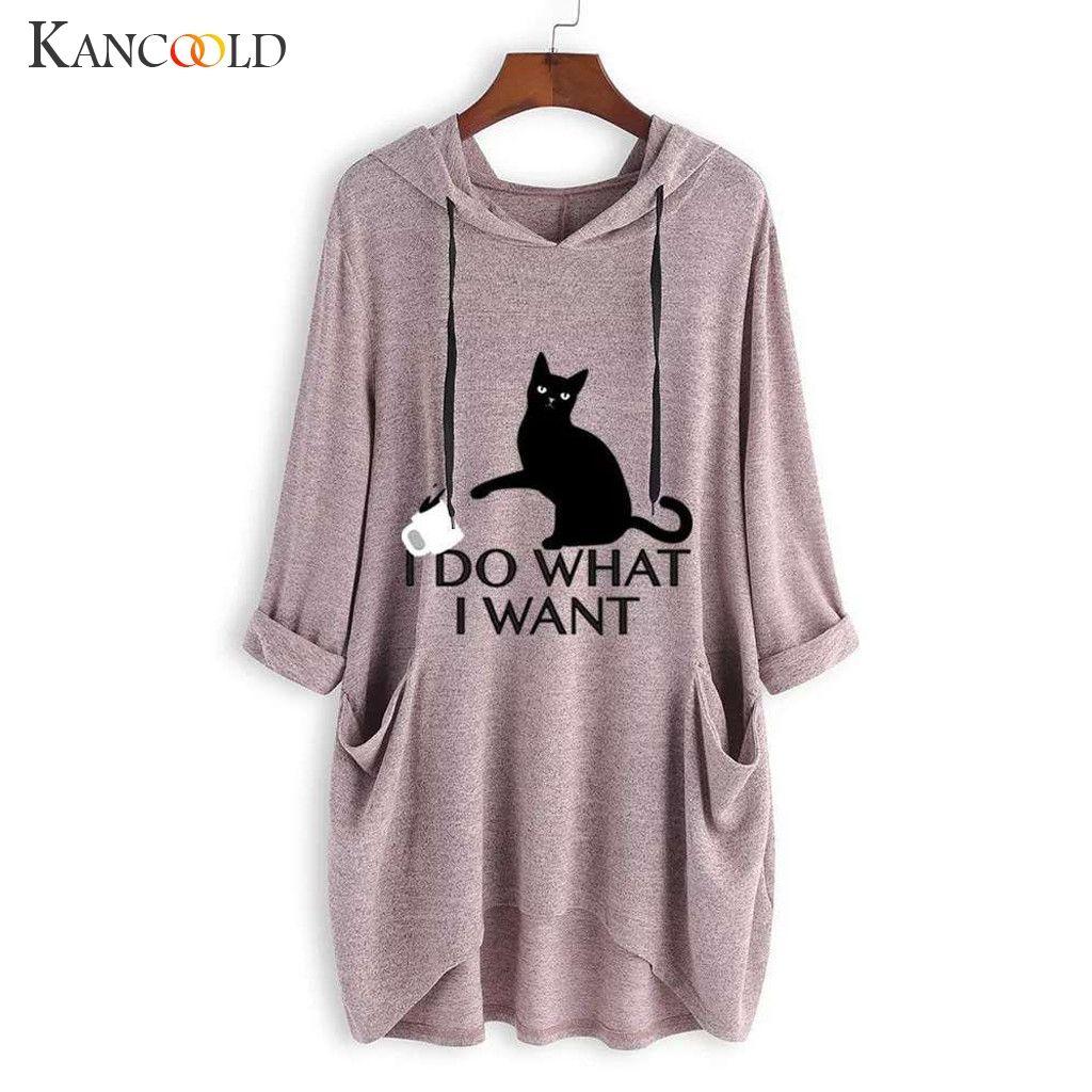 KANCOOLD top T-Shirt femmes décontracté imprimé chat oreille à capuche T-Shirt manches longues poche irrégulière mode nouveau top femme 2018dec27