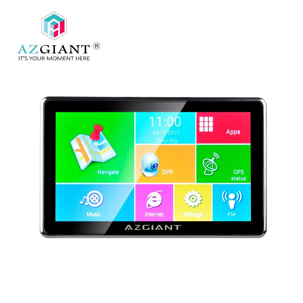 AZGIANT 7 Blutooth WiFi Car Truck Navigation GPS DVR SAT Tablet Touch Screen Android driving recorder Life Free Map <font><b>16GB</b></font> NT-80