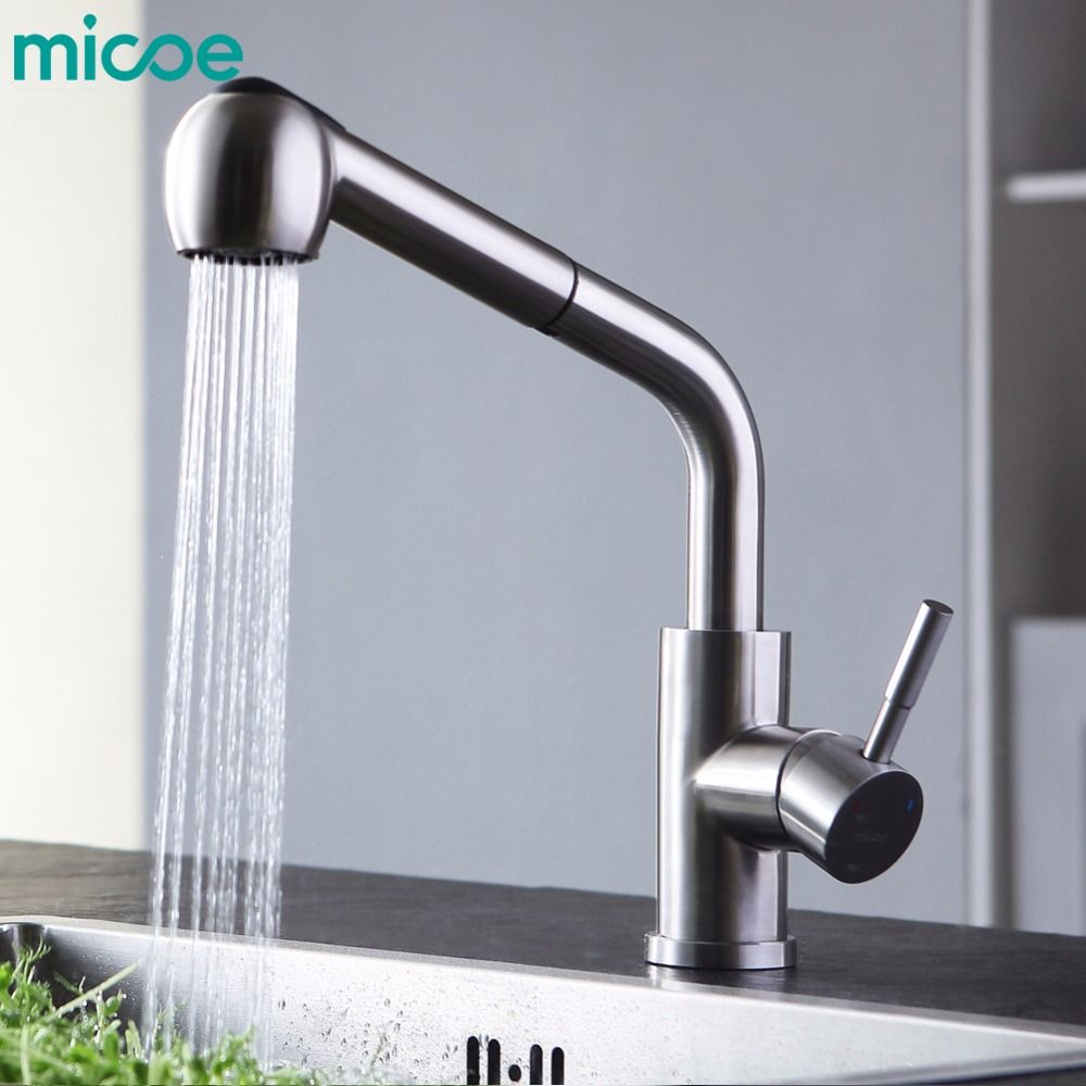 micoe brass kitchen sink mixer hot and cold faucet 360 degree double nozzle single handle single hole basin mixer M-HC101