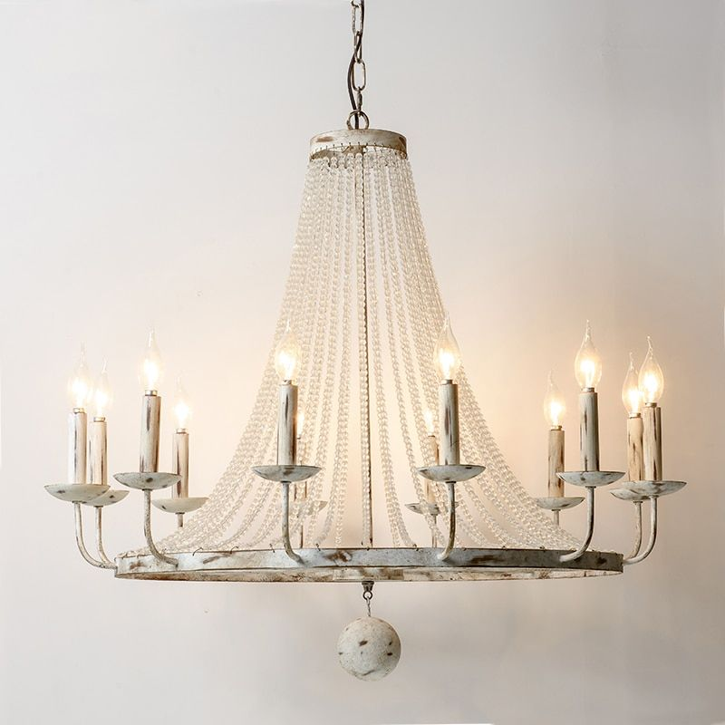 12 Head American Style Country lustres Iron Crystal Pendant Lamp For Kitchen Dinning Room Home Decor Lighting Fixture