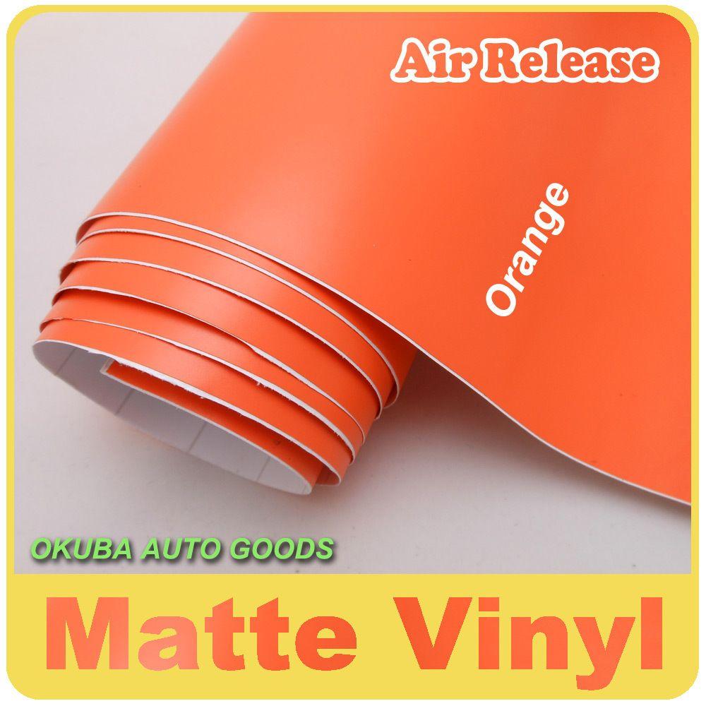 Matte Auto Wrap Klebe Matte Vinyl Film Matt Orange Vinyl Auto Wrap Aufkleber 1,52*30 m/rolle