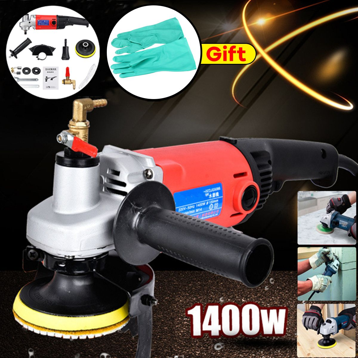 New 1400W Polisher Grinder Diamond Polishing pads Angle Grinder For Concrete Marble Granite with Gloves Power Tools
