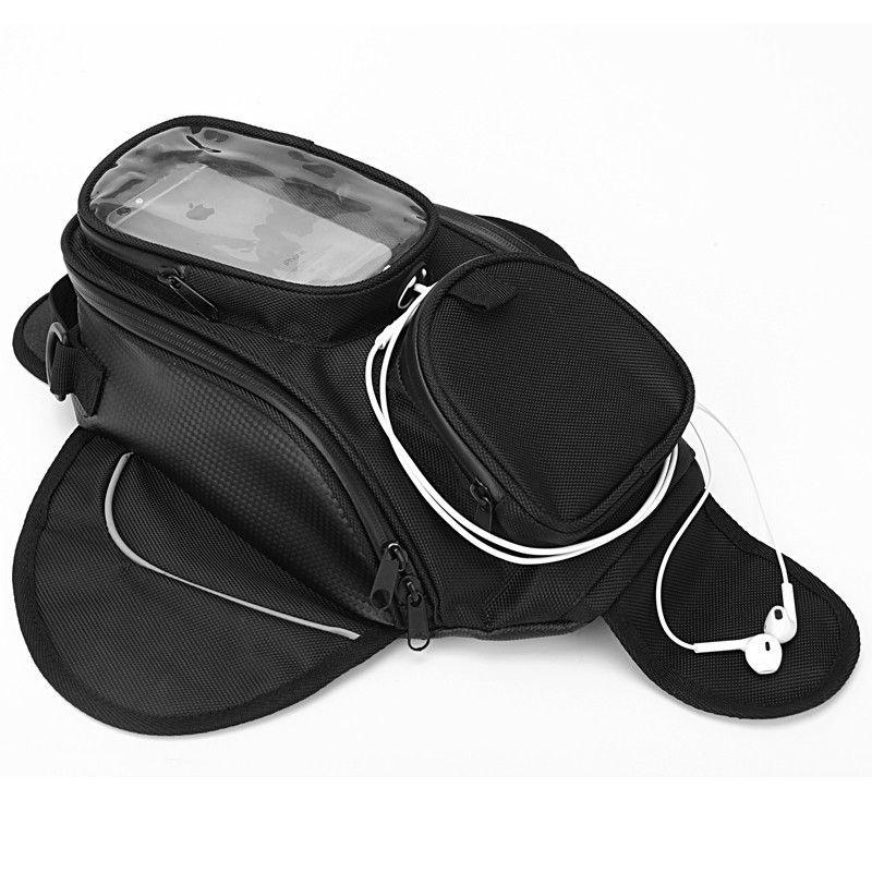 New Waterproof <font><b>Motor</b></font> Tank Bag Black Oil Fuel Tank Bag Magnetic Motorbike Saddle Bag Single Shoulder Bag Motorcycle Backpack
