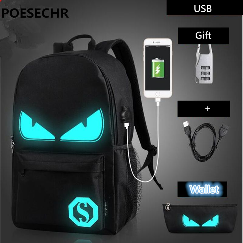 POESECHR  USB Charge Computer Bag Backpack for Men &women  Business teens Casual School Bag Oxford  travel  backpacks