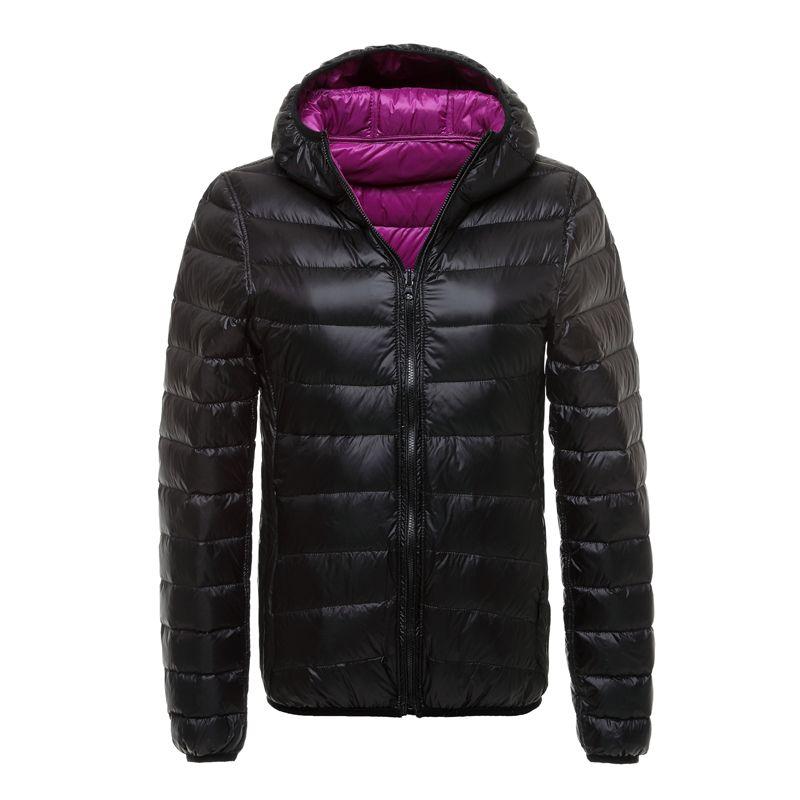 Hiver canard doudoune femmes à capuche Ultra léger doudoune réversible Double côté porter femmes veste Portable 2019 hiver manteau