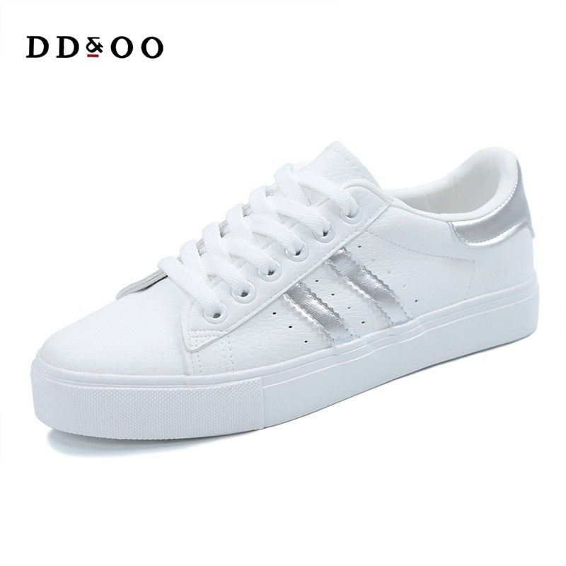 2017 women shoes new fashion casual platform striped PU leather classic cotton women casual lace-up white winter shoes sneakers
