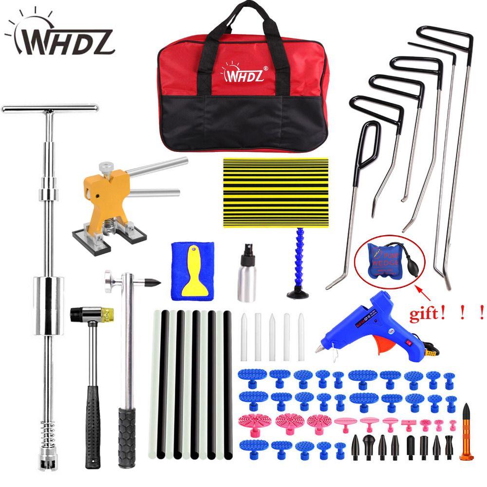 WHDZ Hook Rods Tools Paintless Dent Repair Car Dent Repair Dent Removal Reflector Board Dent Puller Lifter Glue Gun ferramentas