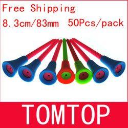 Gratis Pengiriman 50 pcs/bag Multi Warna 8.3 CM Plastik Golf Tees Baru Karet Cushion Top