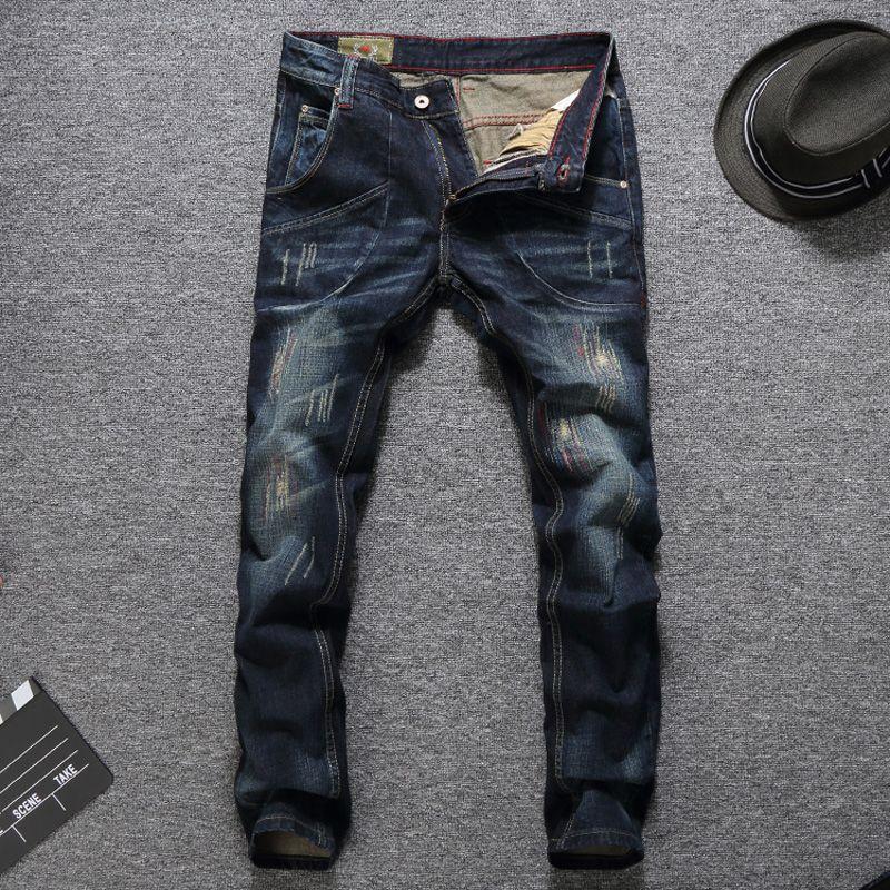 Top Quality Fashion Men Jeans Big Pocket Designer Cargo Pants Slim Fit Cotton Ripped Jeans Men Balplein Brand Classical Jeans