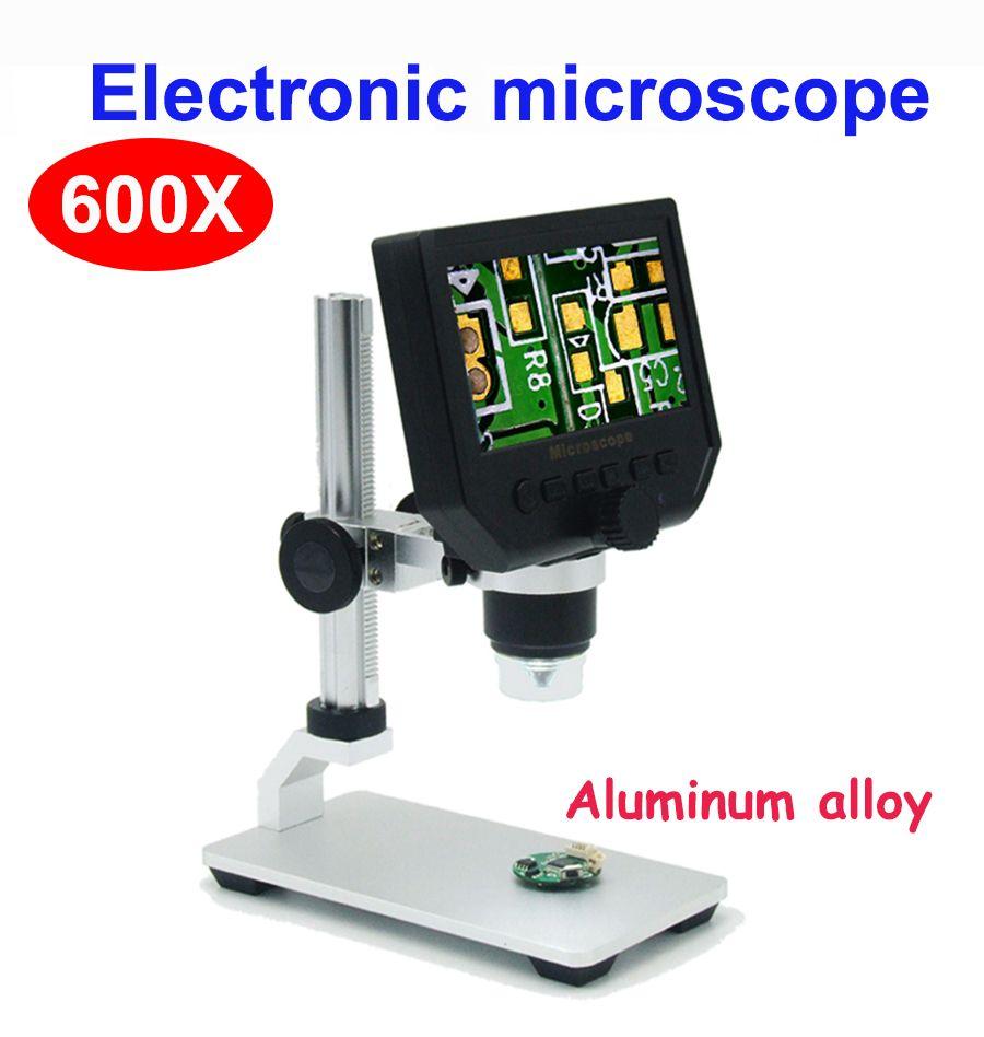 600X microscope numérique microscope vidéo électronique 4.3 pouces HD LCD à souder microscope téléphone réparation loupe + support en métal