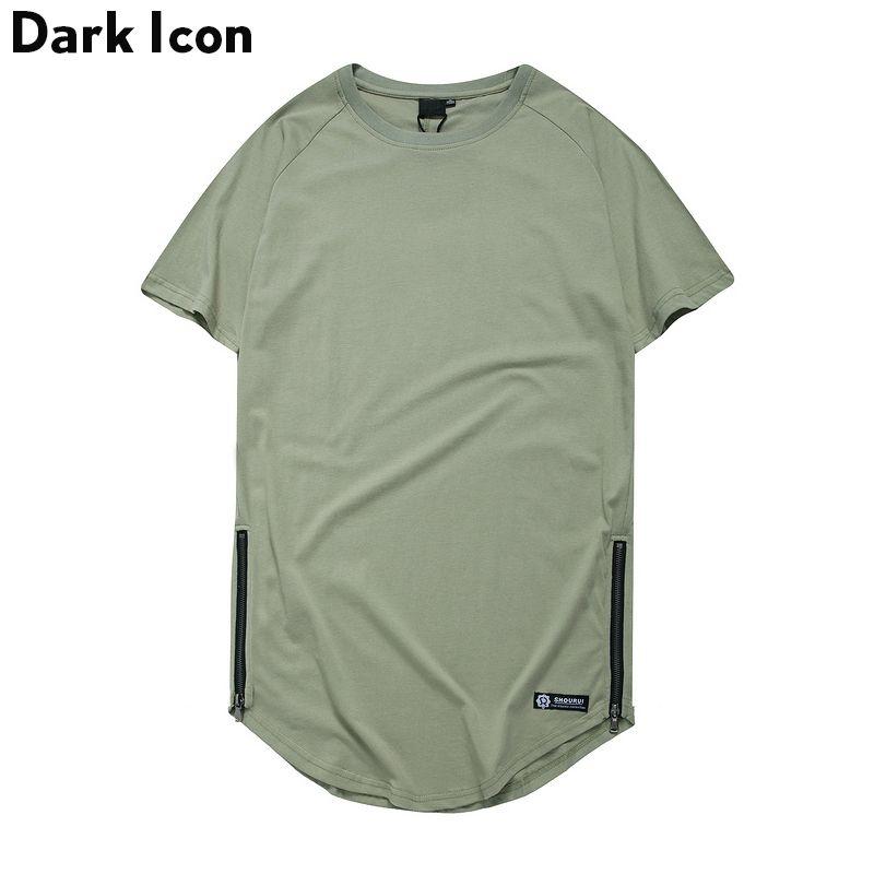 T-shirt Hip Hop col rond à glissière latérale de couleur unie icône foncé hommes 2019 été T-shirt uni étendu hommes t-shirts à la palangre