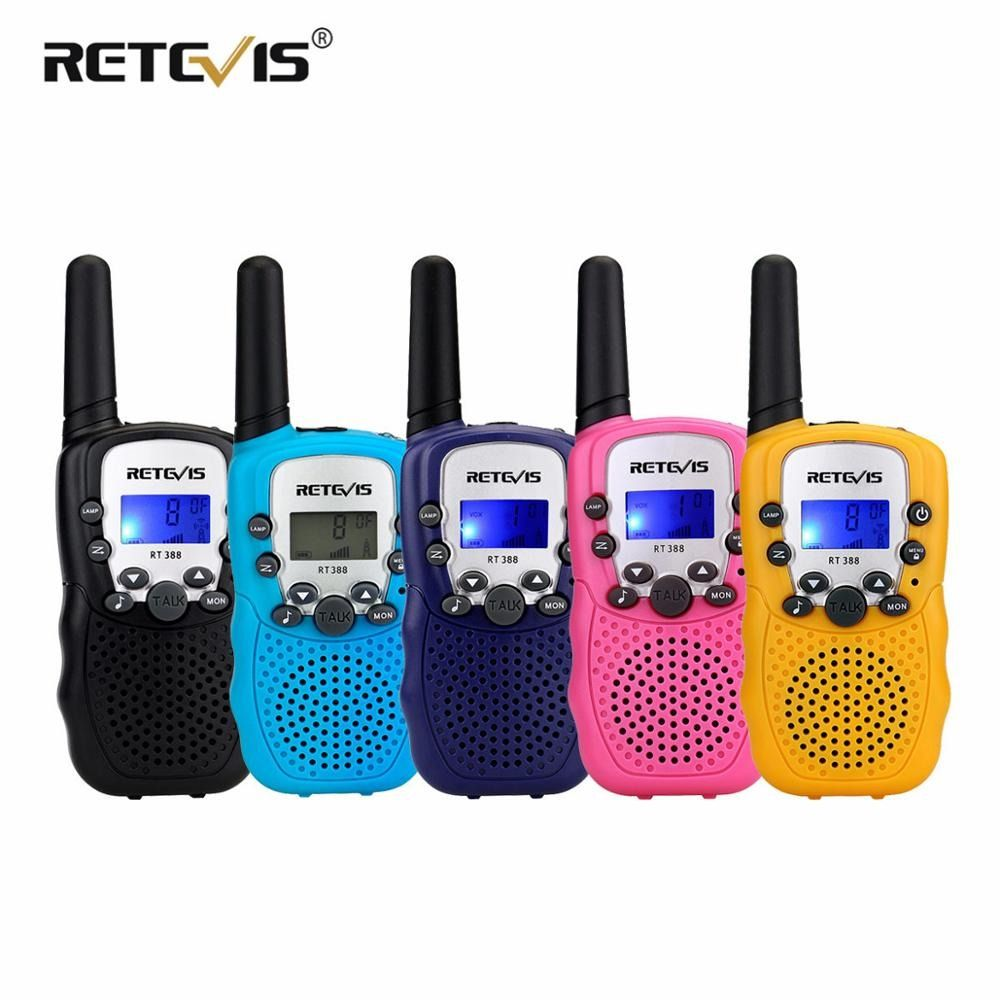 2pcs RETEVIS RT388 Kids Walkie Talkie Mini Children Radio Birthday Gift PMR PMR446 FRS VOX Flashlight 2 Way Radio Child Toys