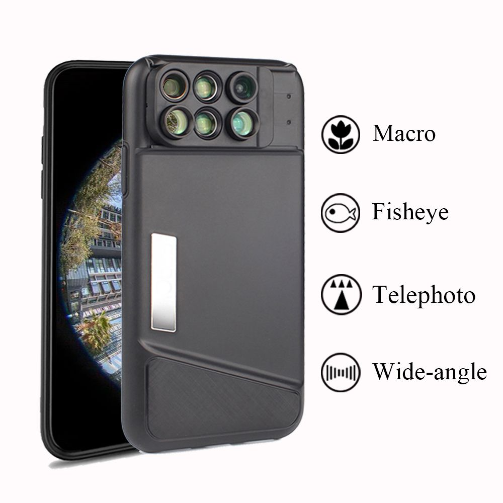 Dual Camera Lens For iPhone X 160 Degree Fisheye Lens Wide Angle Lens 20X Macro Telescope Lens with Case For Apple iPhone X 10