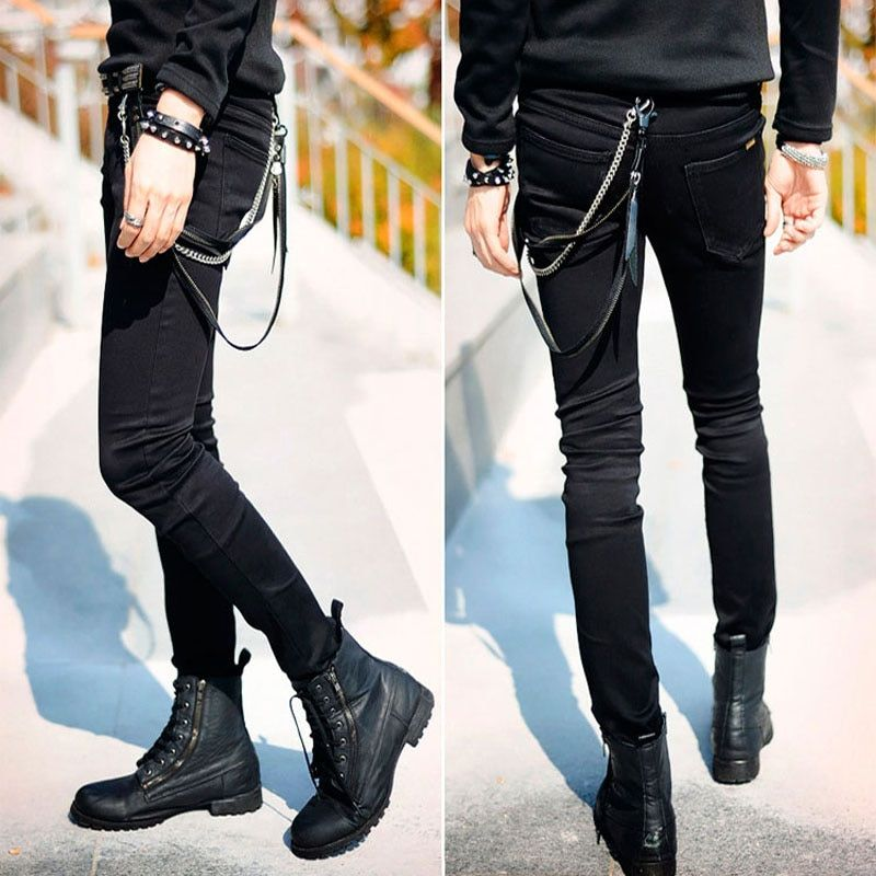 Hot Selling Mens Slim Fit Jeans Punk Cool Super Skinny Pants With Chain For Male